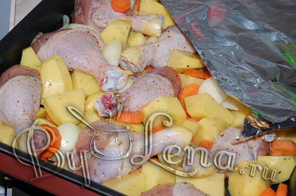 Приготовить овощи в духовке на протвине